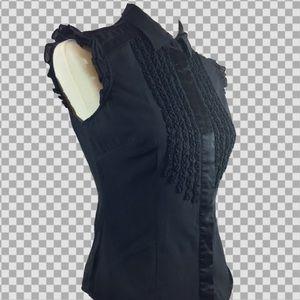 Women's BeBe Sleeveless Blouse raffles front Sz S